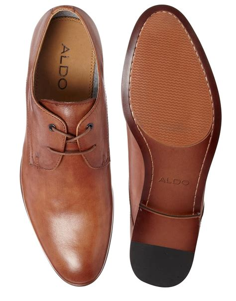aldo leather derby shoes in brown for lyst