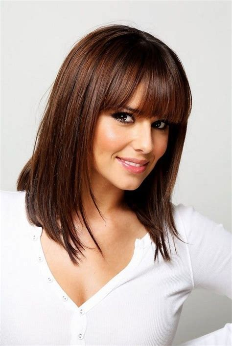 cheryl cole medium straight hairstyle with blunt bangs