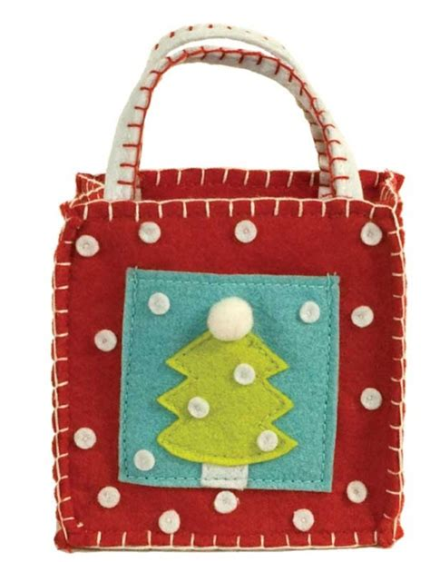 Gift Card Bag - christmas tree gift card goodie bag ecopartytime