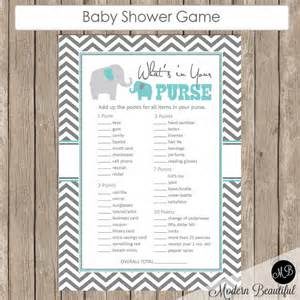 what s in your purse baby shower blue and gray