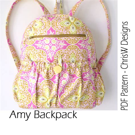 pattern sewing backpack lined zippered backpack pdf sewing pattern amy by chrisw