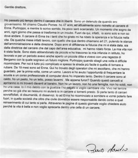 lettere per un carcerato enna lettera di un detenuto aiuto sto per uscire sono
