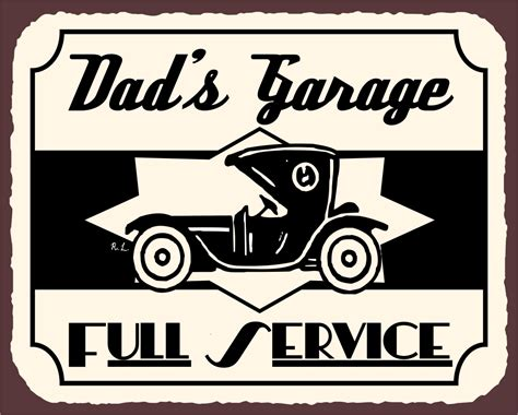 vintage car auto vehicle metal panel sign tin art wall 1950s signs dad s garage full service old fashion car