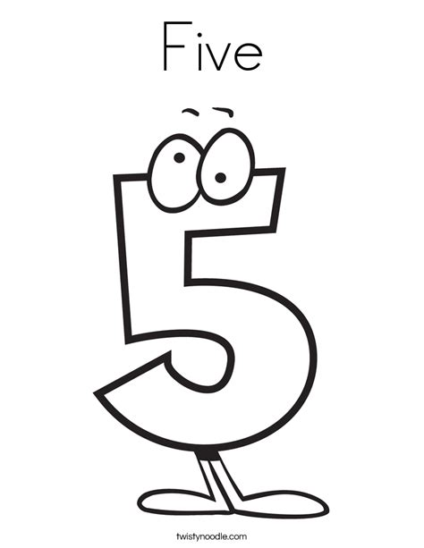 Number 5 Coloring Page Five Coloring Page Twisty Noodle by Number 5 Coloring Page