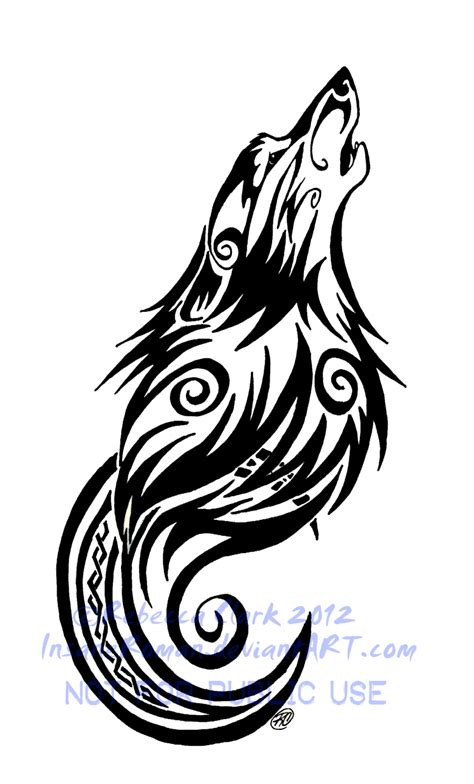 moon tribal tattoos tribal swirls wolf and moon by insaneroman