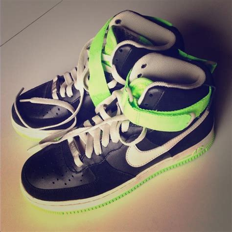 black and neon green nike shoes 61 nike shoes nike air 1 black neon green