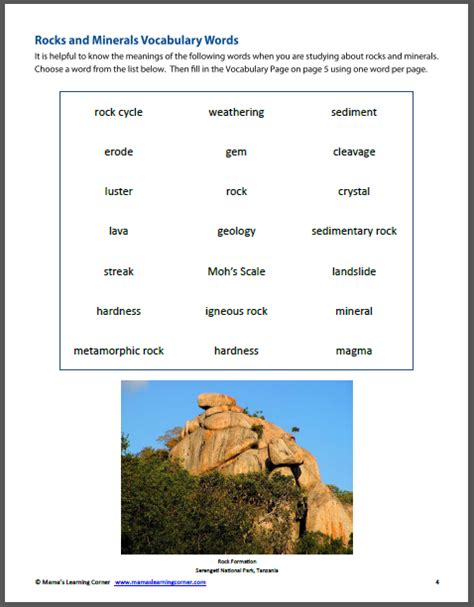 Rocks And Minerals Worksheets by Rocks And Minerals Unit Study Resource Packet Mamas