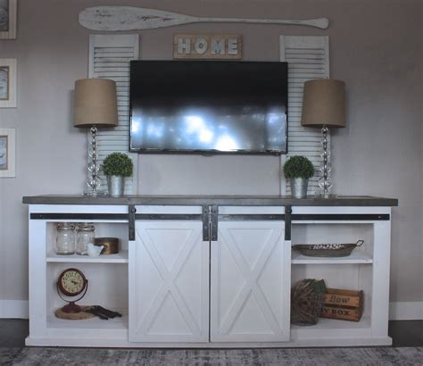 sliding door console table white sliding barn door console diy projects