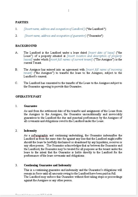 Sle Letter Assignment Of Lease Business Guarantees New Zealand Documents Agreements Forms And Contract Templates