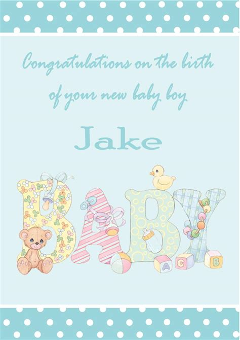 Gift Card Messages For New Baby Boy - personalised new baby boy card design 1