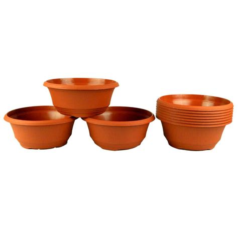 Plastic Planter Bowls by Teku 7 5 In Plastic Bowl Planter Terra Cotta 10 Pack Of