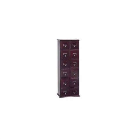 """40"""" Tall 12 Drawer 144 CD Media Storage Cabinet in Cherry"""