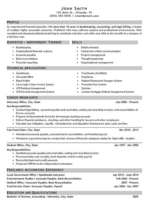 Bookkeeper Resume Sles by Bookkeeping Resume Exle Accounting Finance