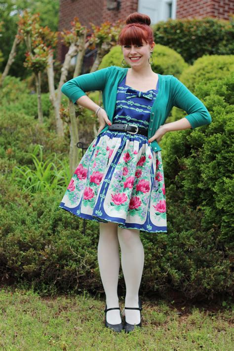 floral bow print pepaloves dress teal cardigan top
