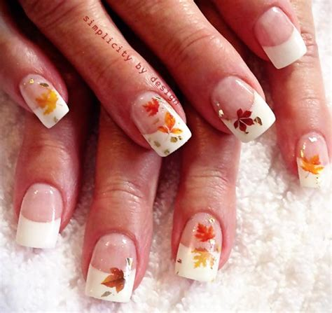 leaf pattern nails leaves applique classic french fall nails fingers and