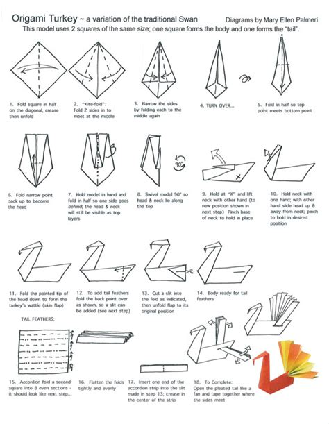 printable origami turkey origami page