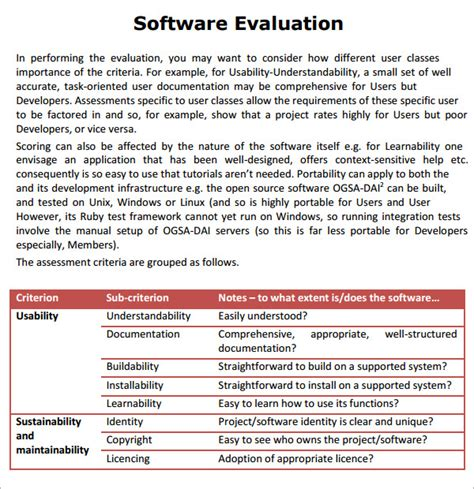 template for evaluation report sle software evaluation 8 documents in pdf word