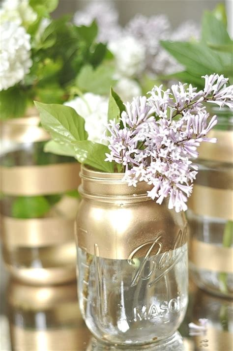 Diy Jar Vase by Diy Gold Jar Flower Vases Your Homebased