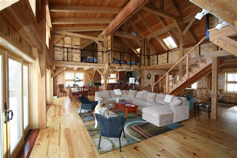 Barn Home Interiors by Mortise Tenon Joined Barn Timber Frame