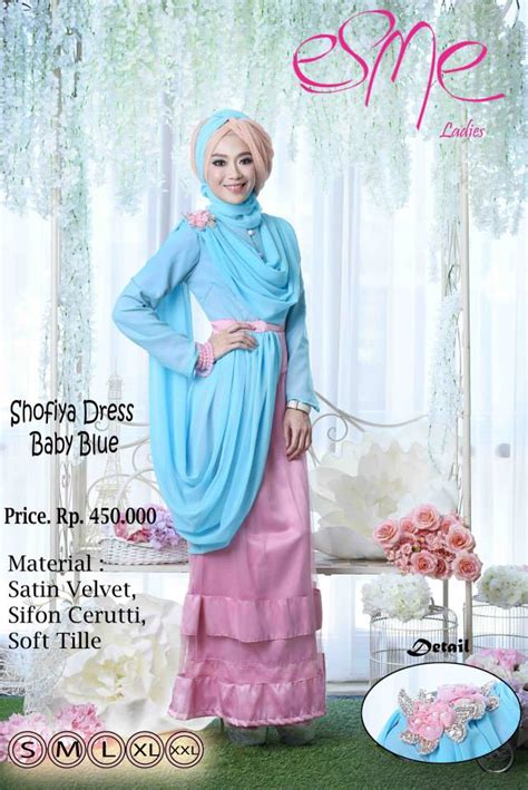Baju Gamis Warna Baby Blue esme shofiya dress baby blue baju muslim gamis modern