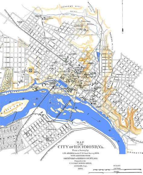 richmond va map the boundary line mapping american history