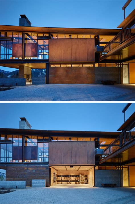 modern mountain house  filled  industrial materials