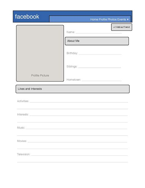 templates for facebook simple facebook profile template great for introduction