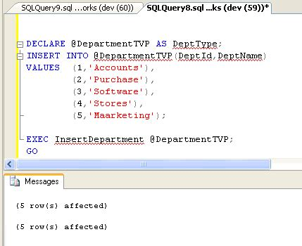 sql parameterized query tutorial sql server 2008 introduction to table valued