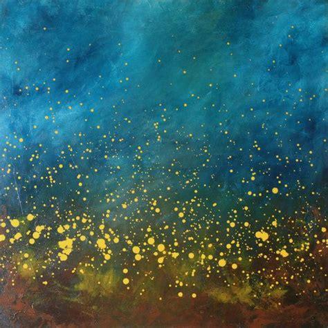 chaising fireflies chasing fireflies ii turquoise blue aqua yellow modern art