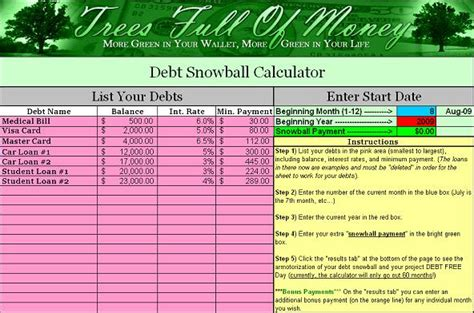 Snowball Calculator Spreadsheet by Free Debt Snowball Calculator Program Trees Of Money