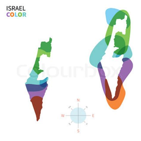 abstract vector color map of israel with transparent paint effect for colorful presentation