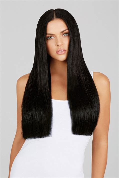 wiki how to get jet black hair jet black 20 inch clip in hair extensions leyla milani hair