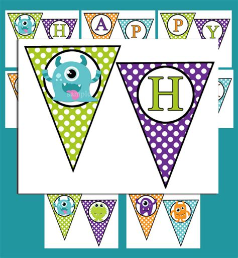 cute printable birthday banner instant download monster birthday banner printable my