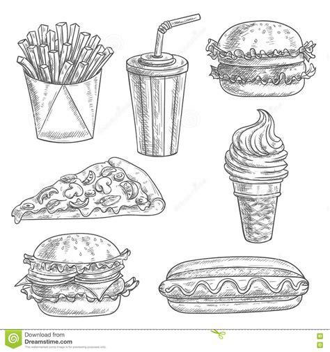 Food Drawing Pen Pencil Makanan Harga fast food snacks and drinks sketch icons stock vector