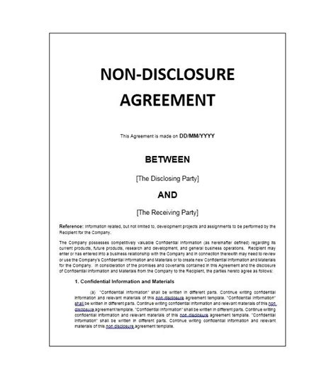confidentiality non disclosure agreement template confidentiality agreement template doliquid