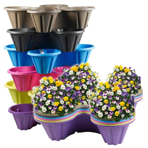 Garden Flower Pots Stackable Plastic 4 Plants Flower Pots Pot Holder