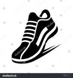 running shoe silhouette running shoe icon on white background stock vector