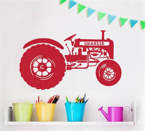 childrens personalised wall stickers personalised children s tractor wall sticker by oakdene