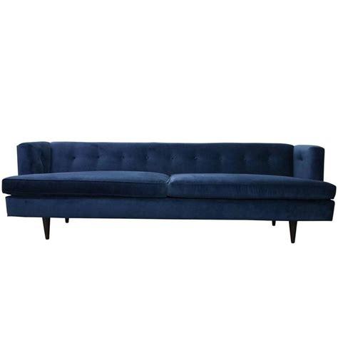 Navy Blue Velvet Sofa by Mid Century Modern Edward Wormley For Dunbar Tuxedo Sofa