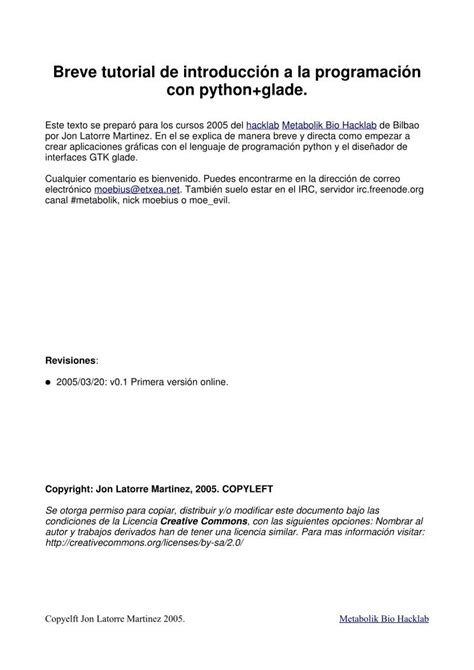 tutorial python glade pdf de programaci 243 n breve tutorial de introducci 243 n a la