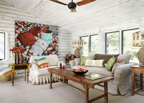 Whitewash Log Cabin Interior by Magical White Cabin Interior Design By The Lake