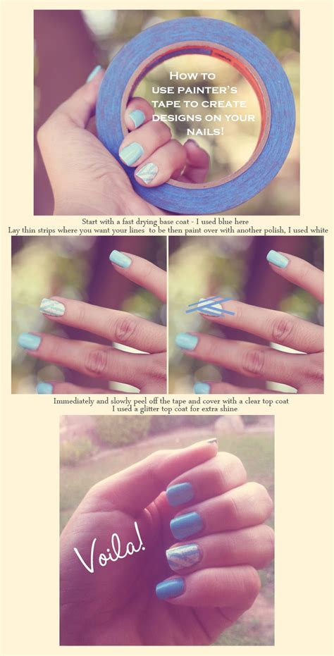 easy nail art with tape step by step jill and the little crown how to use tape to create
