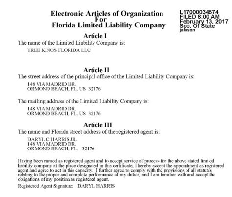 Licensed Insured Tree Kings Florida Articles Of Organization Florida Template