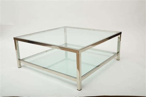 Glass And Chrome Coffee Table Chrome And Glass Square Coffee Table At 1stdibs
