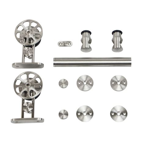 Shop Stainless Glide 78 75 In Stainless Steel Interior Barn Door Roller Kit