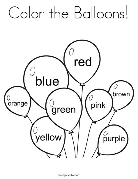 Coloring Pages With Colors color the balloons coloring page twisty noodle