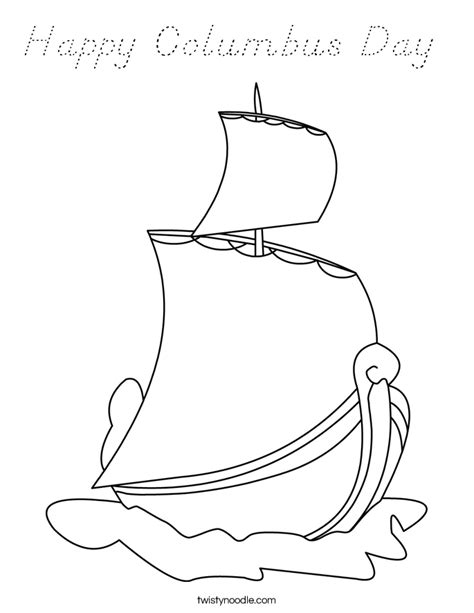 happy columbus day coloring page d nealian twisty noodle