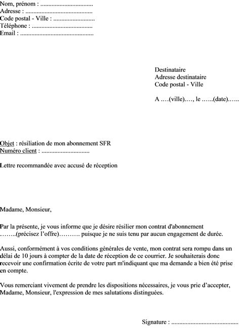Lettre De R Siliation Free Adsl Modele Lettre Resiliation Box Document