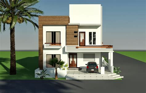3d front elevation 10 marla corner house plan design
