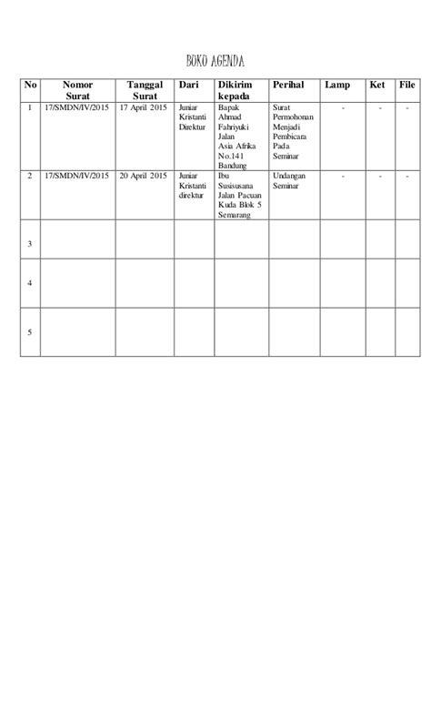 format buku agenda buku agenda surat keluar